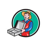 Man Holding Empty Open Suitcase Circle Cartoon