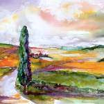 """Tuscany Summer Landscape  Watercolor by Ginette"" by GinetteCallaway"
