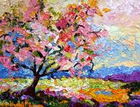 Impressionist Spring Pink Blossom Tree