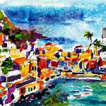 """Vernazza Cinque Terre Italy Travel Watercolor"" by GinetteCallaway"