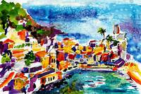 Vernazza Cinque Terre Italy Travel Watercolor