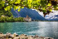 Castle View on Lake Geneva, Chillon Castle, Switze