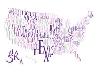 Purples US Typography Map