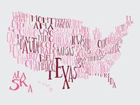 Bubble Gum US Typography Map
