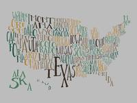 Evergreen Hills US Typography Map