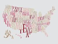 Cranberry Peach US Typography Map