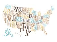 Earth Water US Typography Map