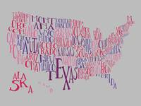 Ketchup Koolaid US Typography Map