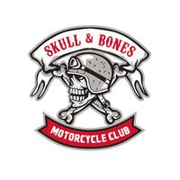 Skull Bones Bike Helmet Ribbon Retro