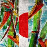 """Japan Rising Sun and Bamboo Mixed Media"" by GinetteCallaway"