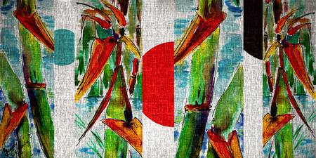 Japan Rising Sun and Bamboo Mixed Media