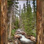 """Mountain Stream Rustic Cabin Window View"" by lightningman"