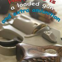 Happiness is a loaded gun and extra ammunition. Art Prints & Posters by Amnon Mintz