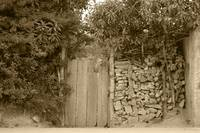 Wood Gate in a Wall of Stones