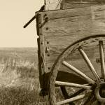 """""""2015-03-17 Sepia Antique Wooden Wagon in a field"""" by rhamm"""