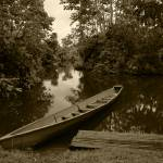 """2015-03-19 Sepia River Boat Filled with Water"" by rhamm"