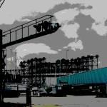 """Lift Bridges And Boat Shed"" by LeonSarantosArtist"