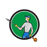 Gardener Hedge Trimmer Circle Cartoon