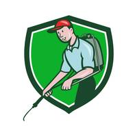 Pest Control Exterminator Spraying Crest Cartoon