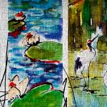 """Cranes in Lily Pads Modern Mixed Media Art"" by GinetteCallaway"