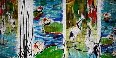 Cranes in Lily Pads Modern Mixed Media Art