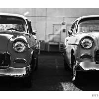 Two 1955 Chevrolets (BW) Art Prints & Posters by David Caldevilla