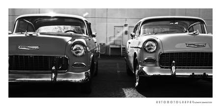 Two 1955 Chevrolets (BW)