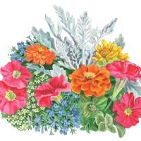 Festive Watercolor Flowers Art Prints & Posters by Irina Sztukowski