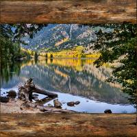 Mountain Lake Rustic Cabin Window View Art Prints & Posters by James