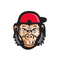 Angry Chimpanzee Head Baseball Cap Retro