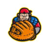 Chimpanzee Baseball Catcher Glove Retro