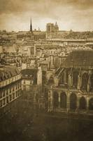 Vintage retro Paris with Notre Dame Cathedral 3