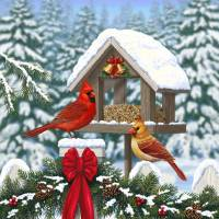 Cardinals Christmas Feast Art Prints & Posters by Crista Forest