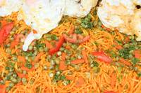 Noodles Vegetables and Fried Eggs