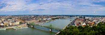 Budapest city and Liberty bridge over Danube river