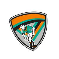 Rugby League Player Playing Ball Shield Retro