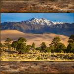 """Rustic Wood Window Colorado Great Sand Dunes View"" by lightningman"