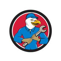 American Bald Eagle Mechanic Spanner Circle Cartoo