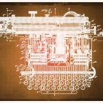 """Type Writing Machine Patent Blueprint Drawings Sep"" by RubinoFineArt"