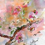 """Cherry Blossoms Branch Watercolor"" by GinetteCallaway"