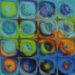 """Circles and Squares 52. Textured Aqua Oils"" by MarkLawrence"