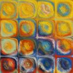 """Circles and Squares 53. Textured Yellow Oils"" by MarkLawrence"