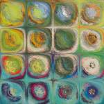 """Circles and Squares 54. Textured Green Oils"" by MarkLawrence"