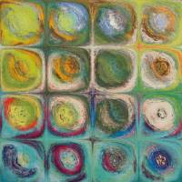 Circles and Squares 54. Textured Green Oils Art Prints & Posters by Mark Lawrence