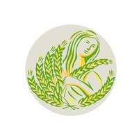 Demeter Harvest Wheat Grain Circle Retro