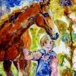 """Horse and Girl Friendship Watercolor"" by GinetteCallaway"