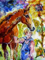 Horse and Girl Friendship Watercolor