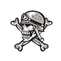 Skull Military Helmet Crossed Bones Retro