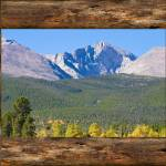 """Colorado Longs Peak Rustic Wood Window View"" by lightningman"
