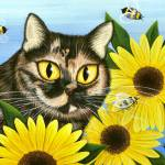"""Hannah - Tortoiseshell Cat Sunflowers Bees"" by tigerpixie"